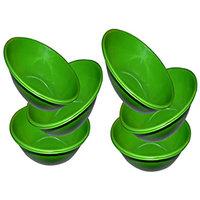 King International- Stainless Steel Serving Bowl Green Color/Pasta Bowl/Salad Bowl Set Of 6 Pcs