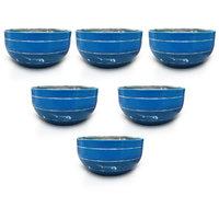 King International - Stainless Steel Blue Designer Bowl/Katoris Set Of 6Pcs