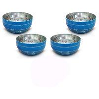 King International - Stainless Steel Blue Designer Bowl/Katoris Set Of 4 Pcs
