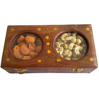 Buyaddiction Wooden Dry Fruit Box With 2 Steel Bowls