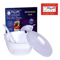 DREAM HOME PLASTIC SERVE BOWL With LID ( WHITE ) Microwave Safe