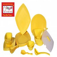 DREAM HOME PLASTIC DINNER SET ( 44 PC ) SQUARE YELLOW PLAIN