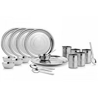 K.S 20 Pieces Dinner Set - 5 Dinner Plates, 5 Tumblers, 5 Bowls, 5 Spoon