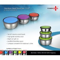 Power Plus Stainless Steel Bowl Set ( 1 Set Of 3 Pcs )-H67