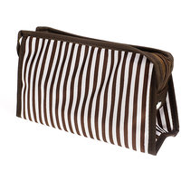 White-and-brown Stripes Cosmetic Bag Toiletry Bag Make-up Bag Hand Case Bag