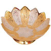 Home Decorative Gold & Silver Plated Brass Utility Bowl