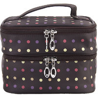 Womens Double-layer Toiletry Travel Wash Organizer Case Cosmetic Makeup Bag - Brown