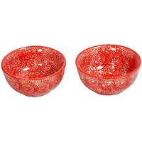 Vibrant Red Ceramic Bowls (Set Of 2)