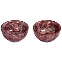 Bright Brown Ceramic Bowls (Set Of 2)
