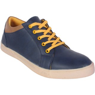 George Adam Men'S Blue Casual Shoe With Yellow Lace-Up