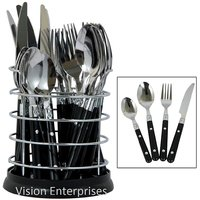24 Pcs Stainless Steel Cutlery Set With Steel Stand (White Color)
