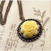 New Hot Chunky Fashion Design Retro Rose Flower Long Necklace For Women & Girls.