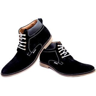 Aureno Black Genuine Suede Leather Casual Boot