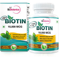 StBotanica Biotin For Healthy Hair Skin  Nails - 10000mcg - 60 Veg Caps