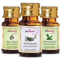 StBotanica Tea Tree Oil + Rosemary + Peppermint Pure Essential Oil (10ml Each)