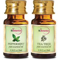 StBotanica Tea Tree Oil + Peppermint Pure Essential Oil (10ml Each)