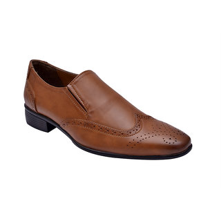 Hirel's Tan Brogue Slip Shoes