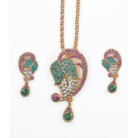 Asian Pearls & Jewels Green And Pink Pendant Set
