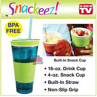 Creative Snackeez 16 Oz. Cup Snacks And Drink In One Cup Drink Up 2 In 1