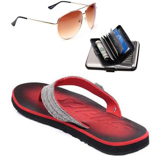 Sparx  Modern Red Black Slippers  Combo
