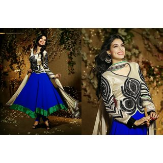 Cream & Blue Pure Georgette Salwar Suit