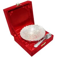Decorifyme Diwali Gifts Set With Bowl Round And Spoon Silver Plated Engraved Handcrafted