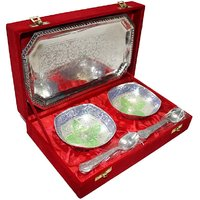 Decorifyme Wedding Gift Set Silver Plated Colored Accent 5Pc Set With Engraving In A Velvet Gift Box