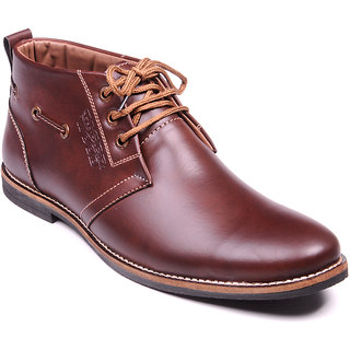 Footstamp Stylish Brown Ankle Length Boot