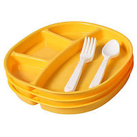 Ruchi Houseware Yellow Plastic 4 Compartment Square Plate Set (9 Pieces)(RUC44)