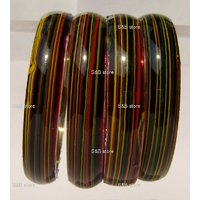 Circular Multi Color Strip  Hand Crafted  Glass Bangles/kara (A-118)