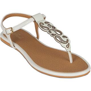 Flora Casual Wear White Flat Sandals