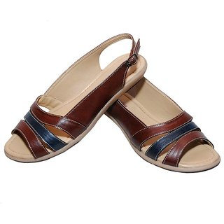 Richiee Brown Imported Faux Leather Slip On Sandals