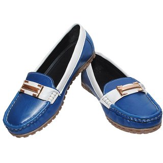 Richiee Blue Imported Faux Leather Flat Moccasins