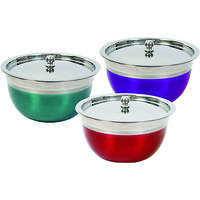 Everwel Bowl Tray Serving Set 3Pcs With Glass Lid