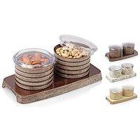 Dry Fruit Bowl With Tray Wooden Polish (2 PCS SET)Nayasa