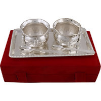 Silver Plated 2 Brass Bowls & Spoon Set With Tray