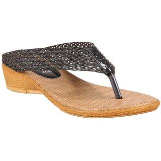 Gratiae Black Open Back Low Heel Slip On Casualwear For Women G 008