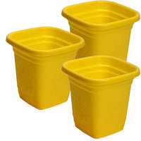 Bloom 8 Yellow Square, Plastic Pot(Set Of 3)
