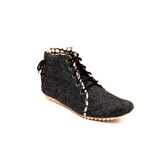 Skylark Black Jute Casual Shoes
