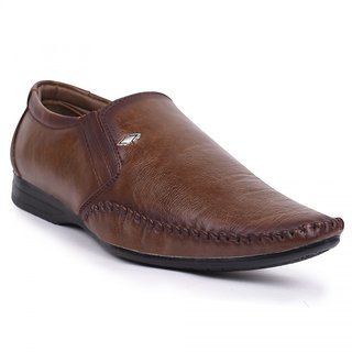 Foot N Style Brown Leather Slip-On Formal Shoes Fs3178