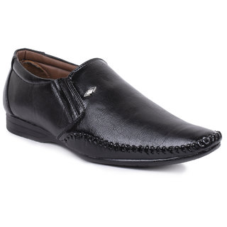 Foot N Style Black Leather Slip-On Formal Shoes Fs3179