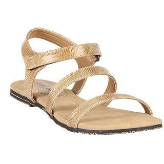 Gratiae Beige  Ankle Strap Slip On Faux Leather Flats For Women Size-4