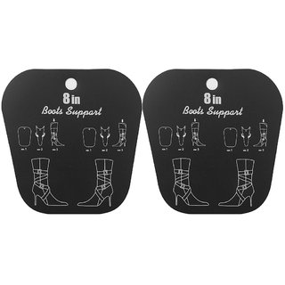 Footful 1 Pair Reelable Short Boots Holder Stand Support Plastic Shaper Stretcher 8inch Black