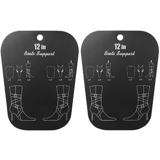 Footful 1 Pair Reelable Medium Boots Holder Stand Support Plastic Shaper Stretcher 12inch Black