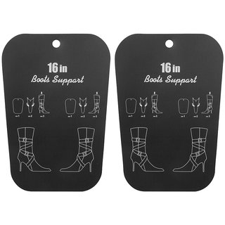 Footful 1 Pair Reelable Tall Boots Holder Stand Support Plastic Shaper Stretcher 16inch Black