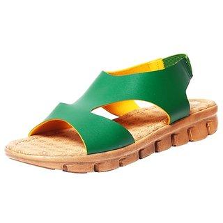 Maroon Faux Leather Medium Heel Daily Wear Sandals For Women (5538)