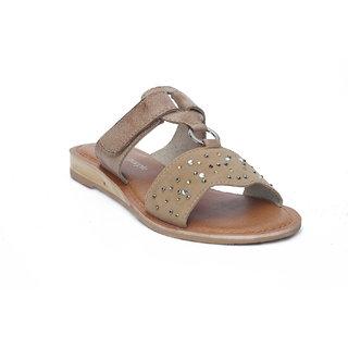 Beige Leather Slip On With Adjustable Strap HML686B