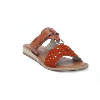 Orange Leather Slip On With Adjustable Strap HML686O