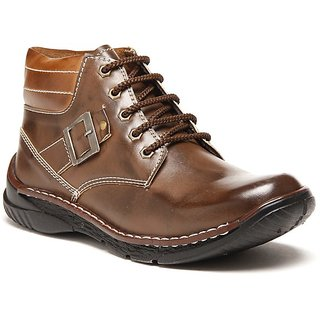 Zapatoz Two Tone Brown Buckled Shoes