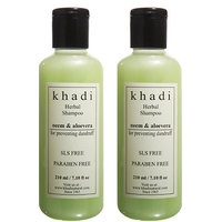 Khadi Neem  Aloevera Herbal Shampoo- Sls  Paraben Free - 210ml (Set Of 2)